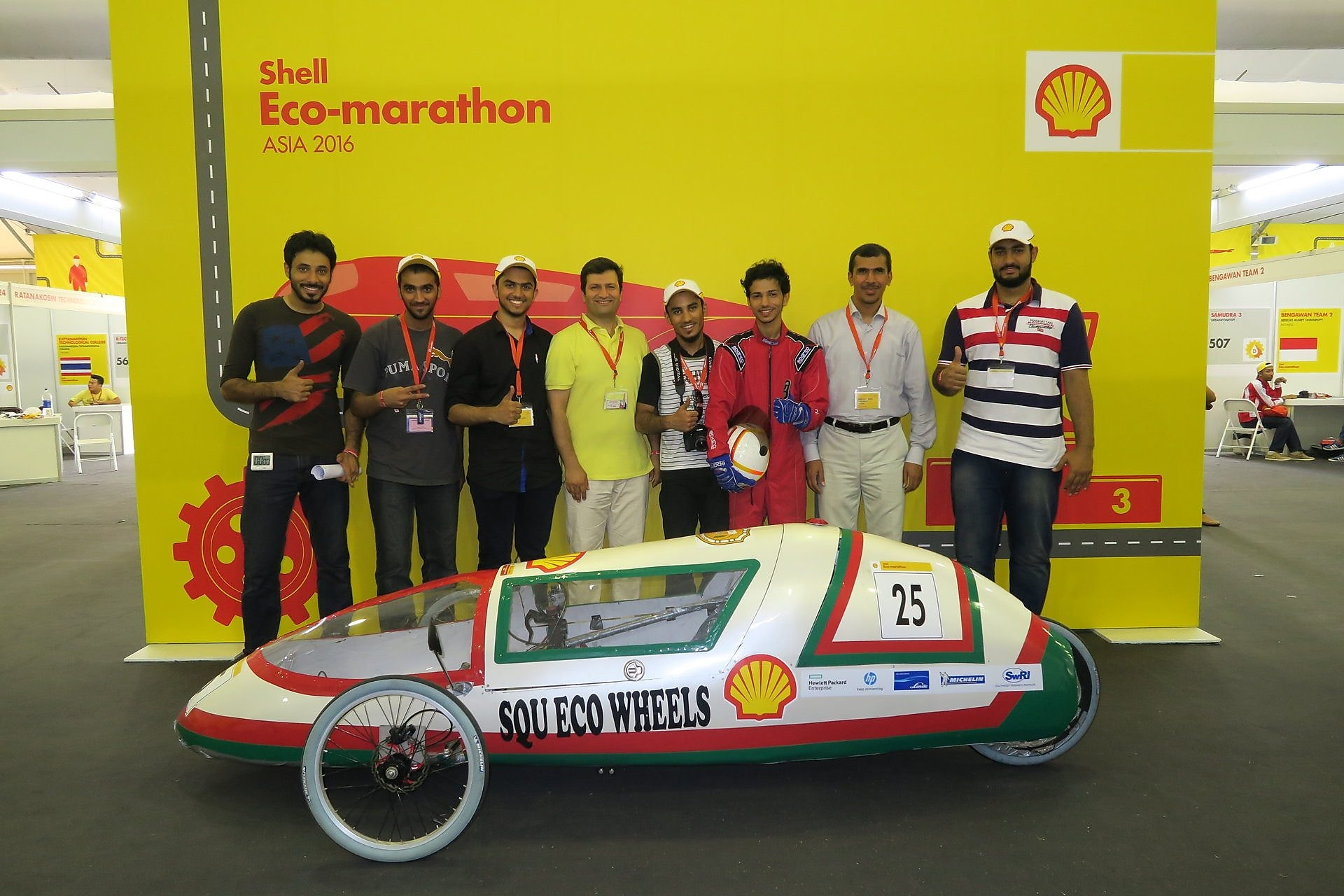 The SQU Eco Wheels, #25, a gasoline prototype vehicle from SQU team at the Sultan Qaboos University in Alkhoudh, Oman, poses for a team portrait during the final day of the Shell Eco-marathon Asia, in Manila, Philippines, Friday, March 4, 2016. (AP Images for Shell)