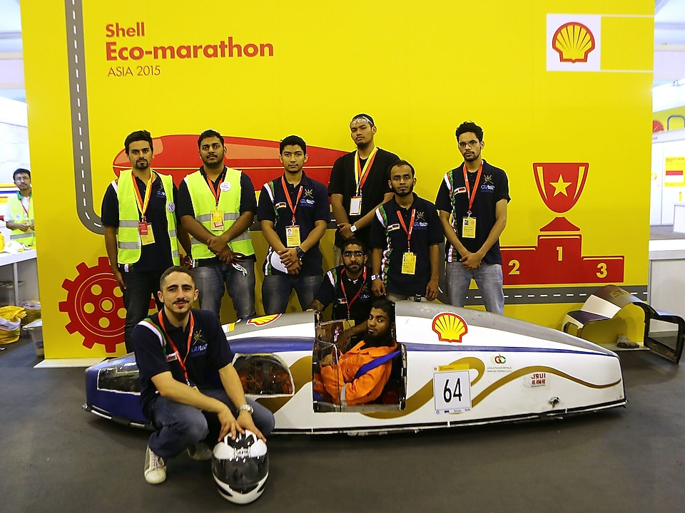 The Mean Machine, #64, Prototype, competing for Team Megalodon from The German University of Technology, Oman poses for a portrait during day one of the Shell Eco-marathon in Manila, Philippines, Thursday, Feb. 26, 2015.