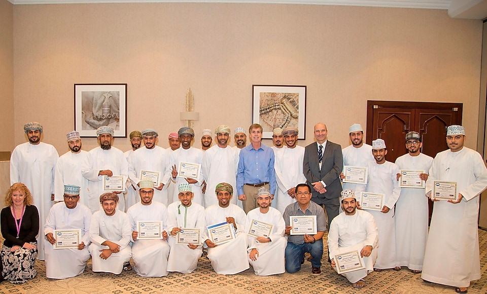 Intructors and Students at the Solar Photovoltaic Training in Oman