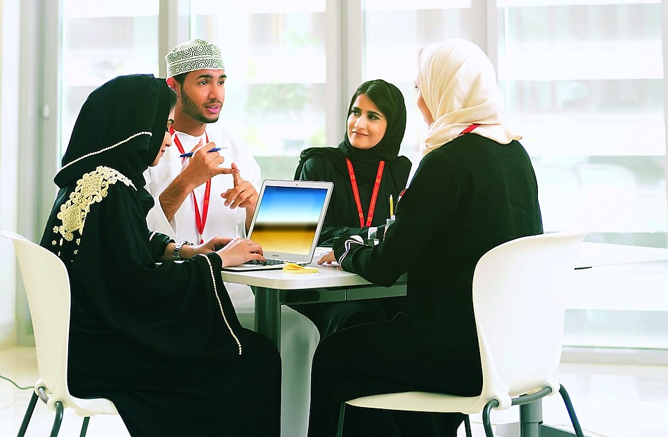 Omani nationals in a meeting